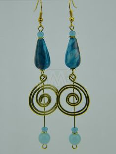 $16.99 African Handmade Hammered Brass Wire Coil Blue Tear Drop Bead Earrings by MasaiMarkets on Etsy