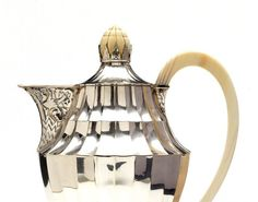 Otto Prutscher (1880-1949), Silver and Ivory Coffee Pot. Detail.