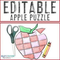 EDITABLE Apple Puzzle: Make an Apple Life Cycle Activity |  1st, 2nd, 3rd, 4th, 5th, 7th, 8th grade, Activities, Autumn, English Language Arts, Fun Stuff, Games, Homeschool, Math, Middle School