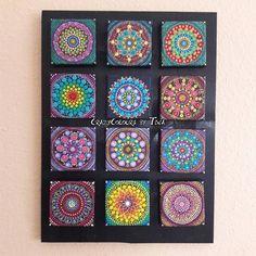 Mandala Painted Rocks, Mandala Rocks, Mandala Canvas, Mandala Art, Mandalas Painting, Design Tattoo, Desenho Tattoo, Dot Art Painting, Mandala Coloring Pages