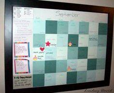 Dry erase calendar w/ paint chips