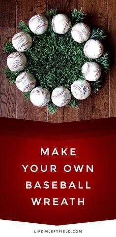 DIY BASEBALL WREATH - Life in Left Field DIY BASEBALL WREATH - Life in Left Field<br> Here's a step-by-step tutorial on how to make your own baseball wreath. Celebrate summer, the sport and your favorite baseball player, baseball mom or team. Softball Wreath, Baseball Wreaths, Baseball Crafts, Sports Wreaths, Baseball Mom, Mesh Wreaths, Baseball Snacks, Yarn Wreaths, Baseball Stuff