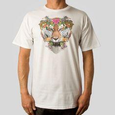 Tiger Heart Tee in White #samflores #upperplayground @Upper Playground #tigerheart #tshirt #tiger #flowers #twelvegrain