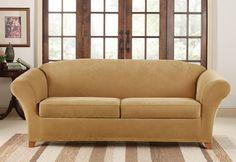 Tufted Sofa  Stretch Piqu Seat Individual Cushion Sofa Covers