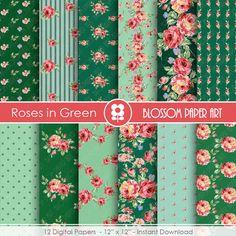 Green Digital Paper Roses Digital Paper Pack by blossompaperart