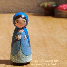 Tiny Muse Fairy Blue Wooden Peg People Doll Brown by mytinystudio, $17.00