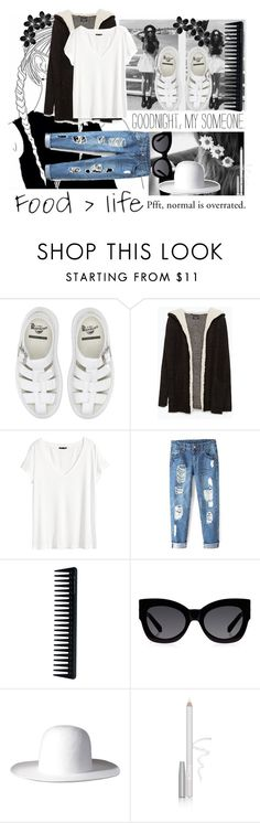 """GOODNIGHT, MY SOMEONE"" by rayrayhatcher ❤ liked on Polyvore featuring Chanel, Dr. Martens, Zara, H&M, GHD, SHAN, Karen Walker, FACE Stockholm, shopping and grunge"
