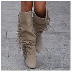 Shoespie Tassel Stiletto Heel Knee High Boots
