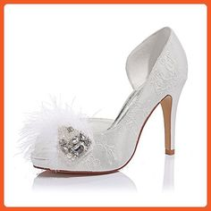 b40911b67d7 LUXVEER White Lace Girls Dance Shoes with Rhinestone Feather Medium Heel  4inch-Peep Toe -