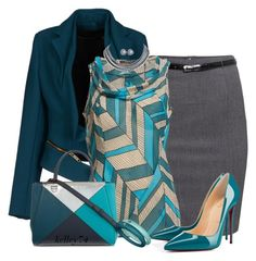 Teal & Grey by kelley74 on Polyvore featuring ESPRIT, Gaetano Navarra, H&M, Christian Louboutin, Fendi, DuePunti, Honora and CARAT*