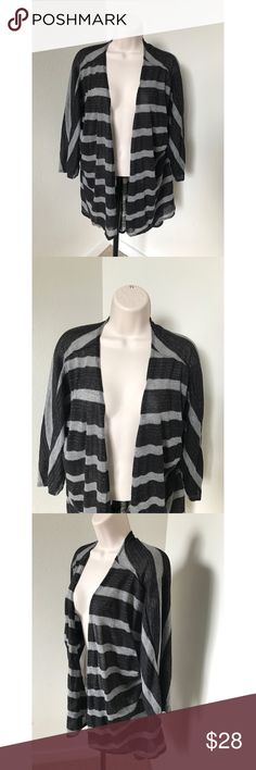 LuLaRoe Striped Lindsay Black Cardigan Large LuLaRoe Lindsay cardigan Size large Black and gray striped Open front  Long Sleeves Asymmetrical hem Gently used, great condition!  length in front - approx 25 inches length in back - approx 33 inches LuLaRoe Sweaters Cardigans