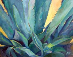 Plant Print featuring the painting New Blue Agave by Athena Mantle Paintings For Sale, Original Paintings, Watercolour Paintings, Watercolor, Mantle Art, Canvas Art For Sale, Succulent Wall Art, Plant Painting, Succulents Painting