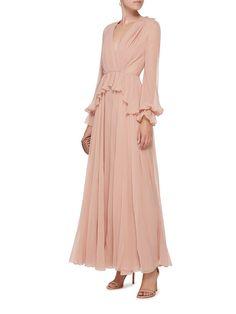 Peplum Waist Silk Dress