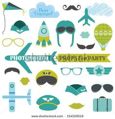Airplane Party set - photobooth props - glasses, hats, planes, mustaches, masks - in vector by Woodhouse, via Shutterstock