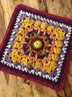 "See How They Run 12"" Afghan Block By Margaret MacInnis - Free Crochet Pattern - (ravelry)"