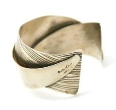 """Rebajes Modernist """"My Masterpiece"""" Cuff Bracelet, by Frank Rebajes in 1945 Francisco (Frank) Rebajes said to his Foreman, Otto R. Bade, """"The war is over lets make something beautiful!"""
