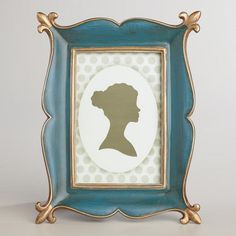 One of my favorite discoveries at WorldMarket.com: Blue and Gold Ornate Byrdie Frame - so pretty!