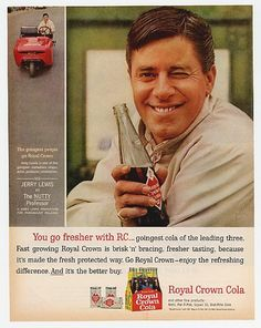 November 1963 Royal Crown Cola ad in Woman's Day Magazine featuring Jerry Lewis and also advertising his new movie 'The Nutty Professor'. Old Advertisements, Retro Advertising, Retro Ads, Vintage Ads, Celebrity Advertising, Vintage Food, Vintage Stuff, Vintage Prints, Jerry Lewis