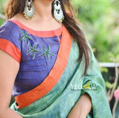 Pure Linen Saree in dual shade of green and purple and contrasting Orange border . Kerala Saree Blouse Designs, Blouse Designs Silk, Saree Blouse Patterns, Designer Blouse Patterns, Design Patterns, Design Ideas, Simple Blouse Pattern, Diana, Blouse Models