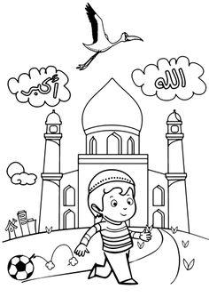 """Imprime et colorie """" Rayan jette son ballon pour aller à la mosquée ! """""""