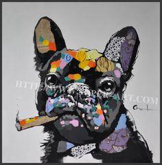 Pintura Al Óleo Animal moderna Popular DIY Sin Marco de Fotos de Acrílico Fumar Un Cigarro de Perro Pintura Sobre Lienzo Pintado A Mano Regalo AWL05-2