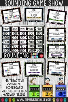 Use this interactive rounding game show to review rounding whole numbers in a fun way! Great extra practice activity before a test! Super engaging! Perfect for any grade 3 and up who need to review rounding whole numbers to any place!