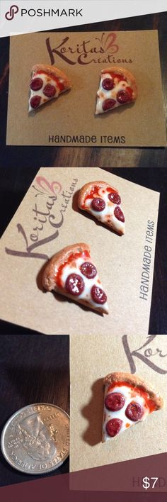 Pizza earrings studs New Handmade One of a kind Pizza earrings, made out of polymer clay. Smoke Free Home  Handmade Jewelry Earrings