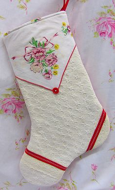 Vintage Handkerchief Christmas Stocking by BerryLane, via Flickr