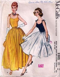 Evening Dress Pattern McCalls 5200 Womens Full Skirt Camisole Top Dress with Shoulder Ties Vintage Sewing Pattern Bust 34 by Anastasia-Jean Parker 1950s Dress Patterns, Mccalls Sewing Patterns, Vintage Sewing Patterns, Retro Mode, Vintage Mode, 50s Vintage, 1950s Style, Vintage Outfits, Vintage Dresses