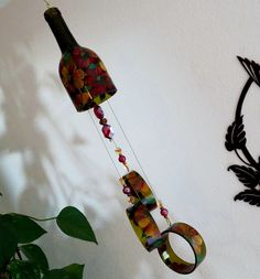 Wine Bottle Wind Chime, Dark Amber Wind Chime, Red And Yellow Flowers, Yard