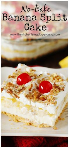 No-Bake Banana Split Cake has all the fabulous flavors you'd expect from a scrumptiously melty banana split sundae, all in an easy to prepare no-bake dessert. Complete with maraschino cherries on top of course, because it wouldn't be a banana split withou Banana Split Cake Recipe, No Bake Banana Pudding, Banana Split Dessert, Banana Dessert Recipes, Easy Cake Recipes, Free Recipes, 13 Desserts, Delicious Desserts, Valentine Desserts