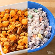 Everyone loves puppy chow! Put a new twist on this tasty snack mix with our homemade recipes. Make a savory puppy chow that has plenty of cheese flavor. Or stick with sweet and use our recipes that sprinkles, almonds, white chocolate and powdered sugar!