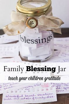 To do on thanksgiving -The family blessing jar tradition is a precious way to instill gratitude in your children with the simple act of recording blessings throughout the year. Children of all ages will enjoy this memory building exercise. Prayer Jar, Prayer Room, Family Home Evening, Family Night, Mason Jar Crafts, Mason Jars, Gratitude Jar, Pots, Thanksgiving Crafts