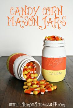 DIY Candy Corn Mason Jar Tutorial at www.adiamondinthestuff.com