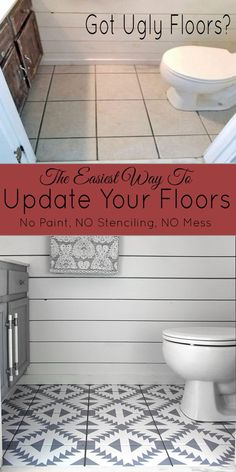 This is the easiest way ever to update your floors and it's not paint! This Diy Flooring Project Transformed our tile floor. diy bathroom Floor Stickers in The Bathroom! - The Honeycomb Home Inexpensive Flooring, Diy Flooring, Cheap Flooring Ideas Diy, Cheap Remodeling Ideas, Vinyl Tile Flooring, Home Remodeling Diy, Flooring Options, Kitchen Remodeling, Bad Styling