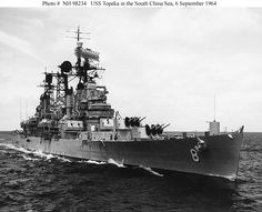 """""""USS TOPEKA"""" (CL-67) Was a (402.7') Cleveland Class Light Cruiser – Comm: 23 Dec 1944 (Honors: 2 BS, WW ll and 3 BS Vietnam) – Crew: 1,255 Officers and Enlisted – Armament: 10 x 6 Inch (150mm) Mk 16 Guns (4 x Triple Turrets) 12 x 5 Inch (130mm) AA Guns (6 x Dual Turrets) 16 x 40mm Bofors AA Guns (4 x Quad Mounts) 12 x 40mm Bofors AA Guns (6 x Dual Mounts) 21 x 20mm Oerlikon AA Guns (Single Mounts) 4 × Floatplanes and 2 Stern Catapults – Decomm: 5 Jun 1969 & Sold for Scrap: 20 Mar 1975 (1)"""