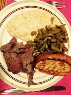 Pressure cooker roast buffalo, canned green beans, cheesy chili grits, elephant garlic bread.