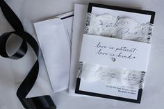Classic 5x7 custom black and white lace wedding invitations via always, by amber