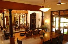 Tarawad House in ECR Chennai is designed by Benny Kuriakose - Benny Indian Home Interior, Indian Interiors, Indian Home Decor, Home Interior Design, Kerala House Design, Kerala Houses, Built In Seating, Indian Homes, Traditional House