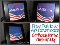 Free Downloadable Patriotic Art! Get ready for the Fourth of July with these FREE downloads. www.SodaPopAve.com