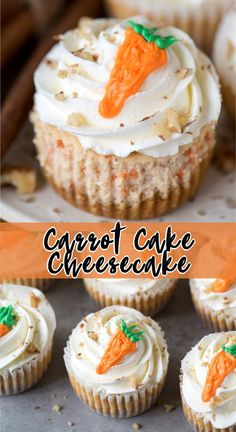 Mini Carrot Cake Cheesecakes made in a muffin pan are easy to make and are the perfect Easter cheesecake to serve for a Easter Cheesecake, Carrot Cake Cheesecake, Mini Cheesecake Recipes, Mini Desserts, Cupcake Recipes, Just Desserts, Baking Recipes, Cupcake Cakes, Dessert Recipes