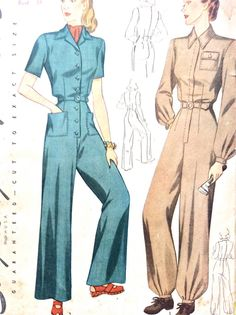 Simplicity 4104 1940s Women's Coveralls Overalls Rosie the Riveter  WW2 Misses'…