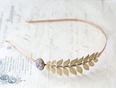 Leaf headband bridal Aphrodite opal elegant Grecian by mylavaliere