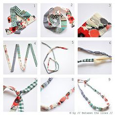 cloth bead necklace tutorial- plus some other great tutorials for using bias tape