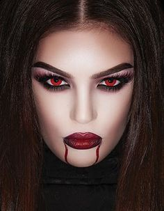 halloween costumes vampire Ad H - halloweencostumes Vampire Makeup Looks, Halloween Makeup Looks, Halloween Looks, Vampire Makeup Tutorial, Halloween Queen, Halloween Diy, Vampire Costumes, Halloween Costumes, Maquillage Halloween Vampire
