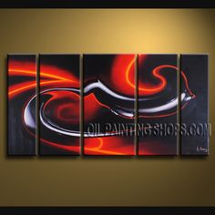 Astonishing Modern Abstract Painting Hand Painted Oil Painting Stretched Ready To Hang Abstract. This 5 panels canvas wall art is hand painted by A.Qiang, instock - $168. To see more, visit http://OilPaintingShops.com
