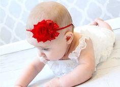 Red Shabby Christmas Headband, Infant Headband, Baby Girl Headband  on Etsy, $5.99