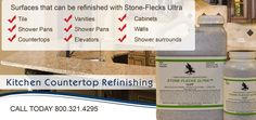 A new formulation allows Stone-Flecks Ultra to be sprayed virtually flat. Stone-Flecks Ultra, easy to spray and user friendly, that will help in a faster turnaround times. The technician can now do a counter in one day. No more sanding to achieve a smooth surface, wait 30 to 45 minutes for Stone-Flecks Ultra to dry and topcoat with Stone-Gard on the same day.