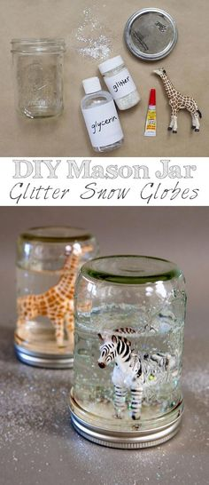 Mason Jar Glitter Snow Globes ~ so fun and easy! You could use any figurine you'd like.