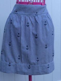 Vintage Seersucker Anchor Skirt Women 039 s 8 | eBay